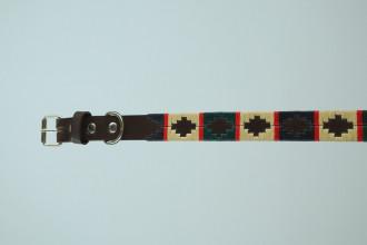 Pioneros-Green/Cream/Navy/Red Stripe Dog collar- L