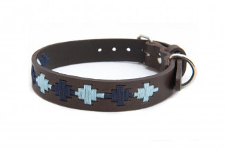 Pioneros-Pampa Cross, Navy & Pale Blue Dog Collar-Small