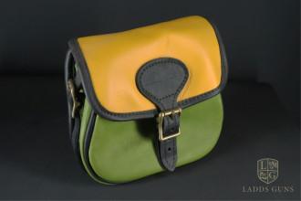Bradleys-Green & Yellow Leather Cartridge Bag