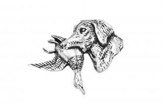 Pewter Pin-Labrador with Duck