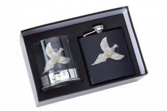 Bisley-Gift Set Whiskey Glass and Flask Pheasant