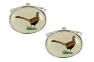 Dalaco-Pheasant Oval Rhodium Cufflinks
